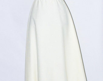 70's Ivory, eyelet, puff-sleeve Wedding Maxi Dress vintage Small/Medium