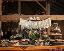 Custom Wedding Banner, Custom Rag Tie Garland Bunting, Custom Shabby Chic Wedding Engagement Reception Party Decor Photography Backdrop Prop