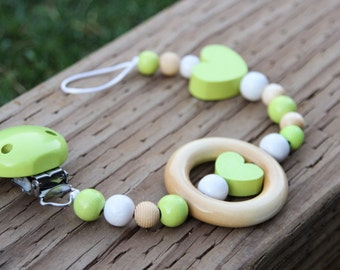 Wooden pacifier chain - pacifier clip - pacifier holder -  baby shower gift - beaded pacifier chain - baby accessory - binky chain
