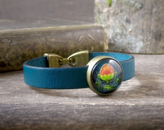 Art Nouveau leather bracelet, Petrol blue leather wristband, Water lily Art Nouveau bracelet, Art Nouveau tile jewelry Gift for her (AJ 050)
