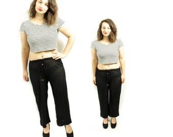 Mesh pants, Wide leg pants, Sheer pants, See threw pants, Black pants, Womens pants, Vintage pants, 70s pants, Women Trousers / Medium Large