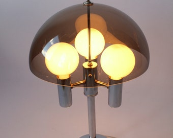 1970 SMOKED ACRYLIC SHADE chrome  table lamp