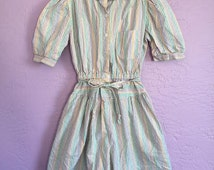 Vintage Rainbow Romper. Vintage Rainbow Striped Girl's Romper. Vintage 70's / 80's Rainbow Romper. Vintage Striped Romper. Cotton Romper.