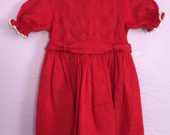 Vintage Red Cotton Dress. Vintage Red Holiday Dress. 60's Vintage Dress. Red Party Dress. Vintage Christmas Dress. Approx Size 2T