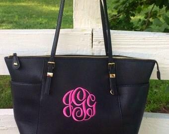 Monogram Purse Bag, Black Pocketbook, Black Leather Monogram Tote Purse, Classic Black/Brown Pocketbook , Designer Inspired Handbag,