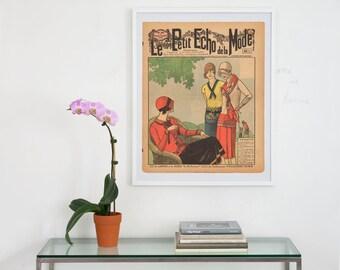 le petit echo de la mode archival art print, cover art print, cover art, french fashion print, fashion magazine art print