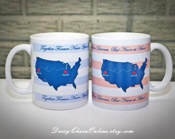 Best Friend Coffee Mug Long Distance Coffee Mug, Custom State Coffee Mug - Double Sided Unique Coffee Mugs - Personalized State Mug, BFF Mug