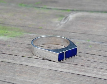 Ring Lapis Lazuli and Sterling Silver 925/Modern Men Ring/Genuine Lapis Gemstone/Designer Ring/Men jewelry/Men Ring/Blue Ring.