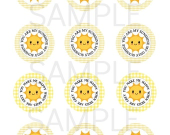 INSTANT Printable Sunshine Cupcake Topper Printable file DIY You are my Sunshine Birthday Party Baby Shower