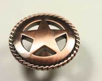 Western Style Star Rope Knob - Antique Copper