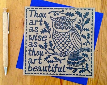 Thou art as wise as thou art beautiful, William Shakespeare quote greeting card.