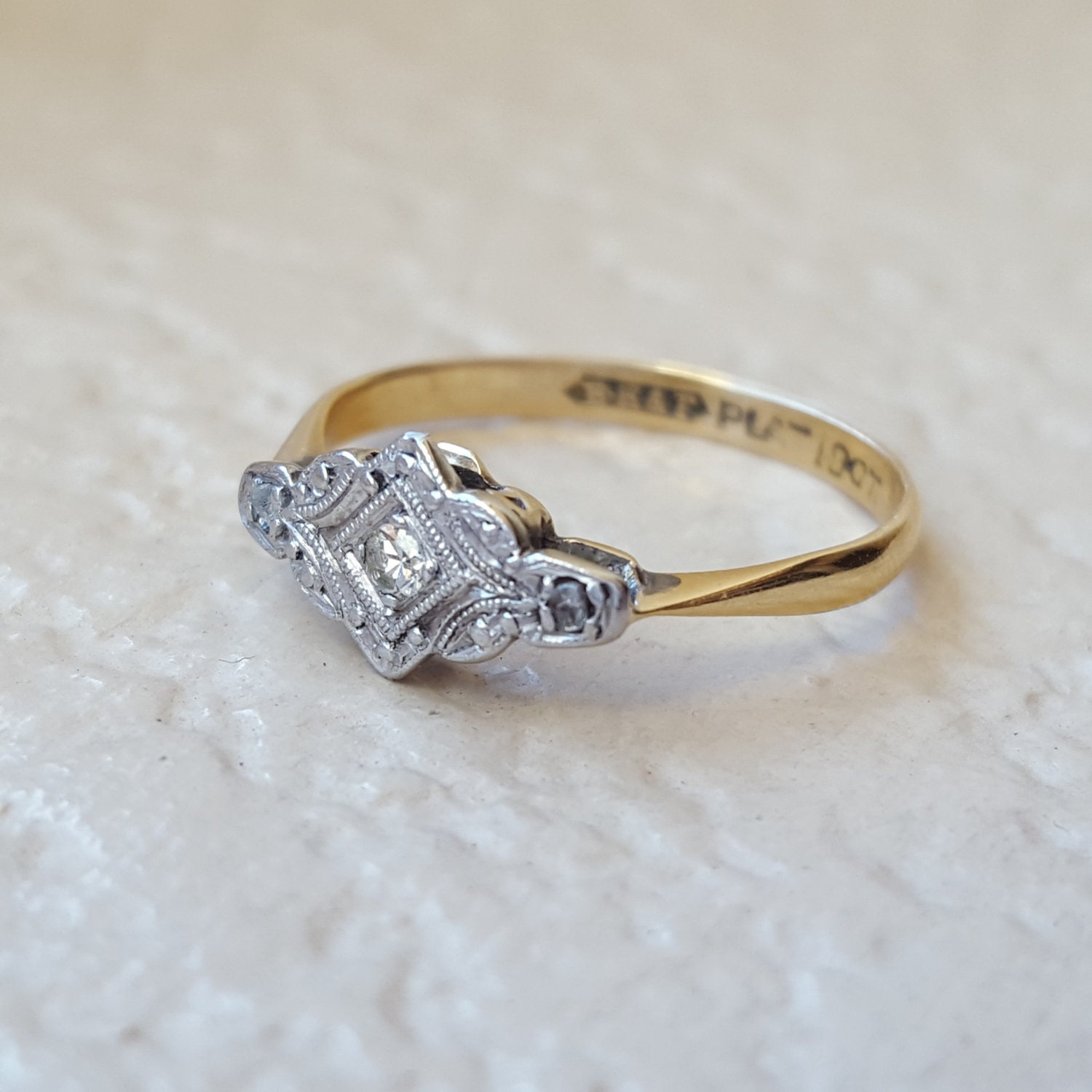 antique vintage cluster ring in 14k gold platinum