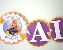 Tangled Inspired Birthday Banner - Rapunzel Princess Birthday Banner - Princess Birthday Party Decorations - Name Banner - Photo Banner