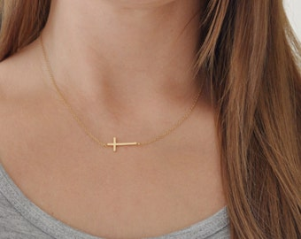 Horizontal Gold Cross Necklace - Delicate - Dainty - Simple - Centered - Minimalist - Short - 14k Gold Filled Chain