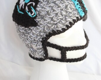 Crochet PANTHERS Hat - Toddler / Child Size Football Helmet - Carolina Panthers Crochet Helmet for Boys and Girls - Panthers helmet sizes 2T