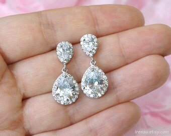 Wedding Earrings Bridal Earrings Rhodium plated Zirconia Earrings Bridal Jewelry Crystal CZ Earrings Wedding Jewelry Wedding Accessory