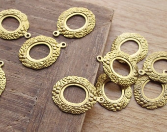 6pcs Oval Floral Open Back Pendant Setting in Raw Brass 10x8mm - CB53FVS-41