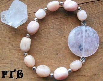 "Peace and Tranquility ~ Authentic Pink Opal & Rose Quartz Gemstone Flower Bracelet 8"""
