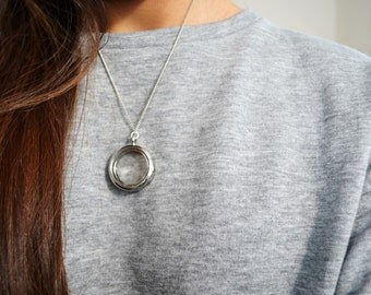 Elegant Glass Locket Necklace - Silver Clear Locket - Long Necklace