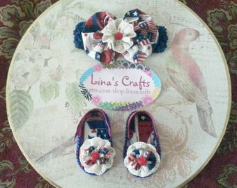 Baby Headband Sandal Set, Beige Red Blue Headband and Sandals Baby Set, Country Baby Set, Baby Shoes, Baby Headband
