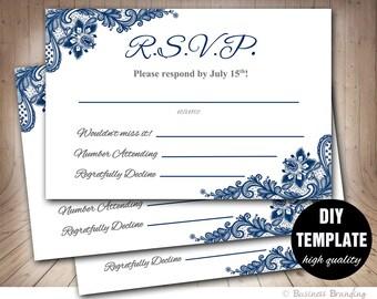 Navy Blue Wedding RSVP Template,Blue Lace Wedding Response Card,Printable RSVP Card,RSVP Wedding,Navy Blue rsvp,Blue Response Card Template