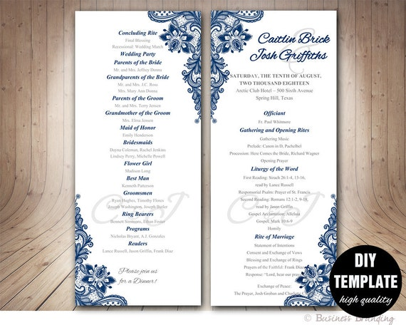 navy blue wedding program template instant download. Black Bedroom Furniture Sets. Home Design Ideas