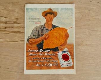 1940s - Lucky Strike Advertisement  - Vintage Cigarette - Antique Advertisement - Old Magazine Ad - Advertisement Print - WWII Era