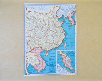1942 - China Map - Large Antique Map - Beautiful Old Map China - Large Vintage Map - Colorful Atlas Map - Gift - Home Decor