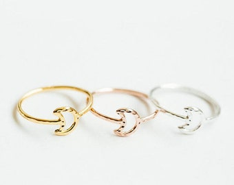 Crescent Moon Ring (silver/ gold/ rose gold)