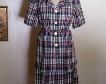 Opalescent Button Meets Lady in Plaid Shirtdress