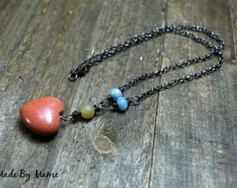 Gemstone Heart Rustic Boho Necklace, Carved Goldstone, Bohemian, Handmade Artisan Beaded Y Necklace, Angelite and Jade, Oxidized Copper Chic