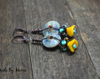Boho Blue and Yellow Earrings, Rustic Oxidized Copper and Handmade Ceramic, Artisan Jewelry, Czech Glass Flowers and Beads, Wire Wrapped