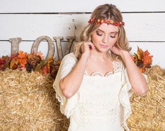 Burnt Orange Floral Crown, Flower girl flower crown, Fall floral crown, Autumn Garland, woodland wedding
