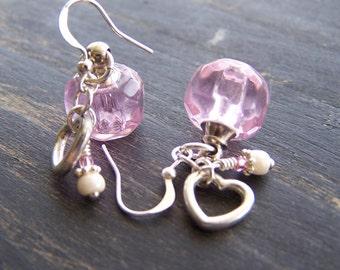 Clearance - Pink Essential Oil Heart Earrings