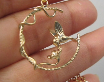 Gold Plated HUMMINGBIRD FLOWER Pendant Necklace Chain C20