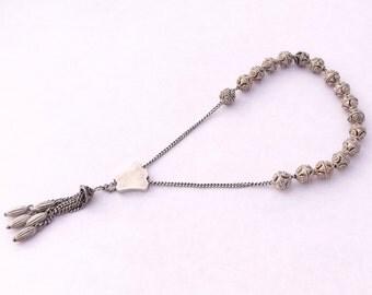 Silver Worry Beads, Vintage Komboloi, Greek Beads