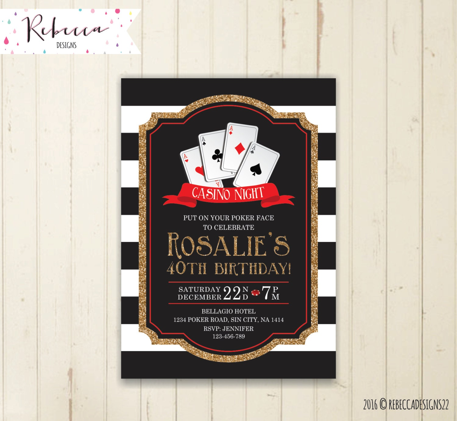 Casino party invitation casino birthday invitation poker party