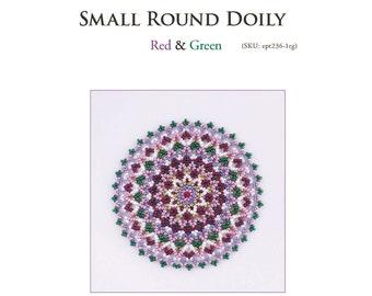 Beading tutorial, doily pattern, bead weaving pattern, red green, instructions, home decor mat, netting, ept236-1rg