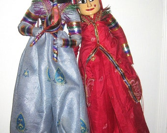 Pair of Indian Deity Puppets From Rajasthan India