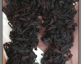 Winter scarf, Dark ruffled scraf, Fashion scarf