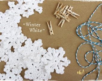 "Crochet Snowflake Garland ""Winter White"" - Made to Order"