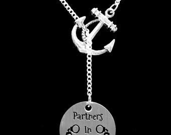 Best Friend Gift, Partners In Crime Necklace, Best Friend Necklace, Sister Anchor Y Lariat Necklace