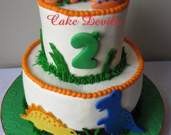 Fondant Dinosaur Cake Topper, handmade edible, Dinosaur Cake Decorations, Dinosaur themed birthday party, Dinosaur Party Supplies