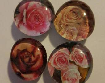 Set of 4 Strong Glass Rose magnets, refrigerator magnets, fridge magnets, kitchen decor, Flower Magnets, flowers, floral, nature, beautiful