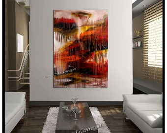 RED Painting Drip Art abstract art Size 52 x 32 Large artwork