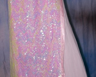 Iridescent Pinkish White Sequined Skirt and Sleeves