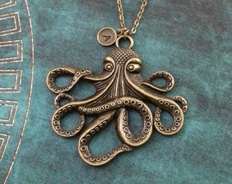 Octopus Necklace VERY LARGE Octopus Jewelry Personalized Jewelry Kraken Necklace Octopus Gift Octopus Pendant Necklace Bridesmaid Necklace