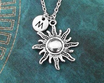Sun Necklace Sun Jewelry Radiant Sun Charm Necklace Celestial Jewelry Sun Pendant Necklace Silver Sun Charm Necklace Initial Necklace Boho
