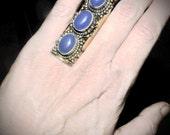 Premium Grade AAA Lavender jade  saddle ring /statement ring