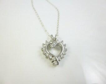 Heart Necklace, Sterling Silver Heart, CZ Diamond Heart Pendant Necklace, Open Heart Necklace, Diamond Heart